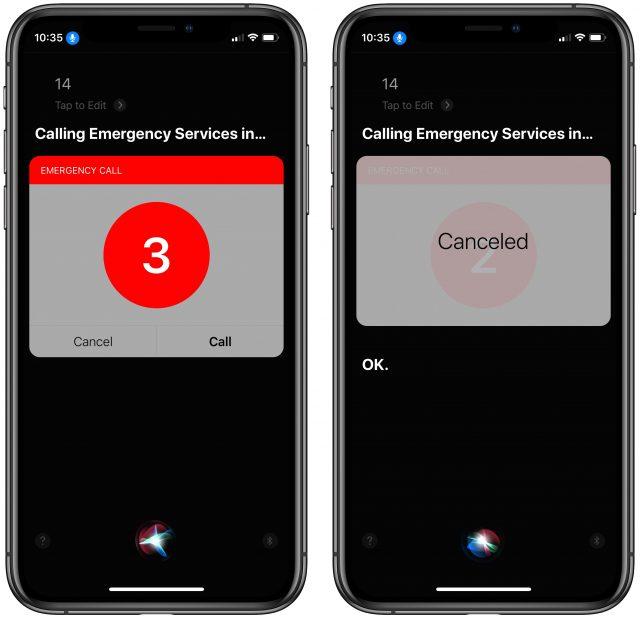 Siri calling 14 emergency number