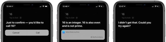 Siri responses to 16