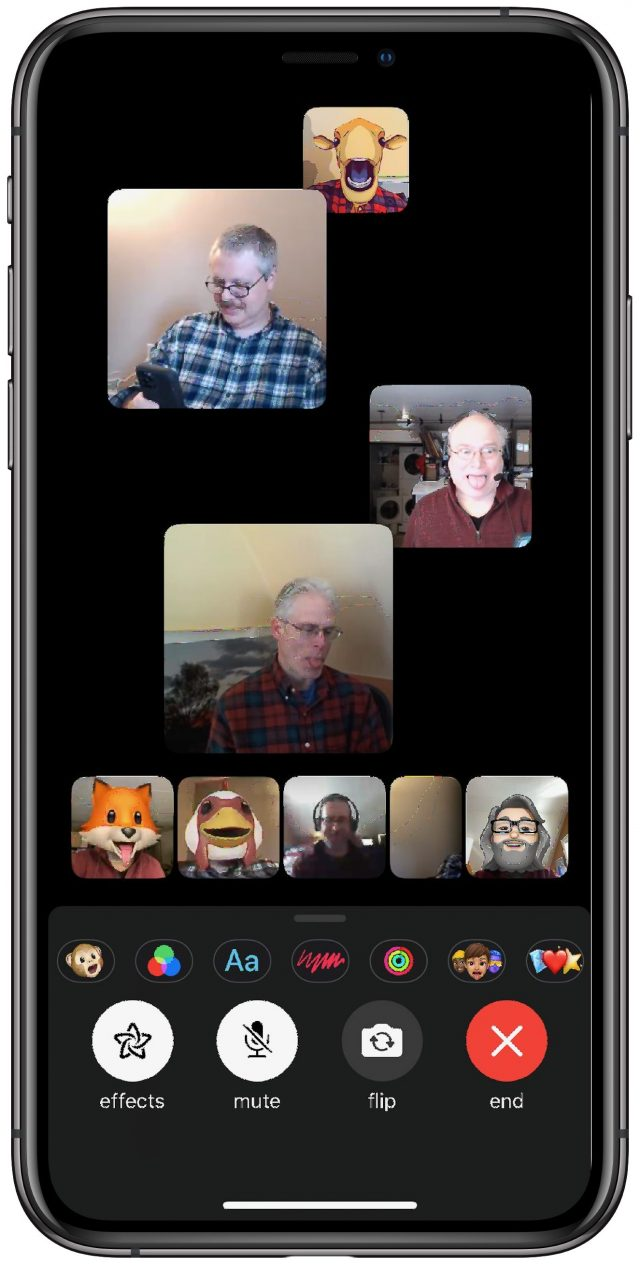The gang getting silly on FaceTime