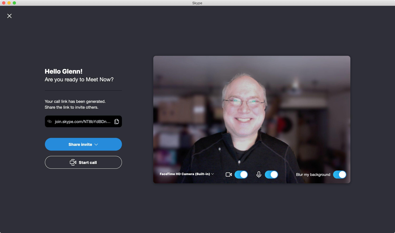 Skype Meet Now interface