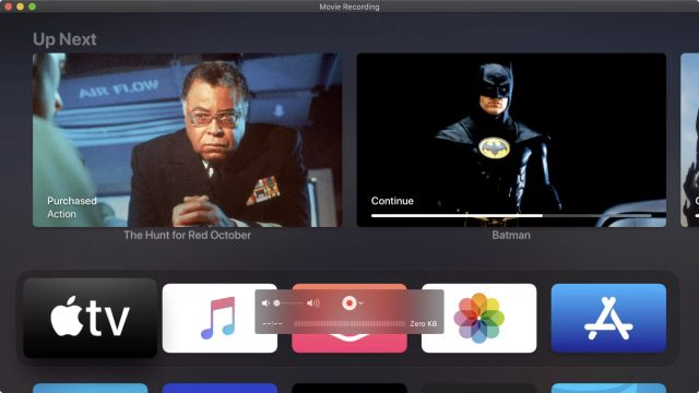 The Apple TV Home screen in QuickTime