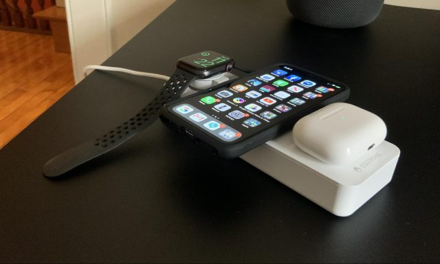 The Eggtronic Power Bar with an Apple Watch, iPhone, and AirPods case