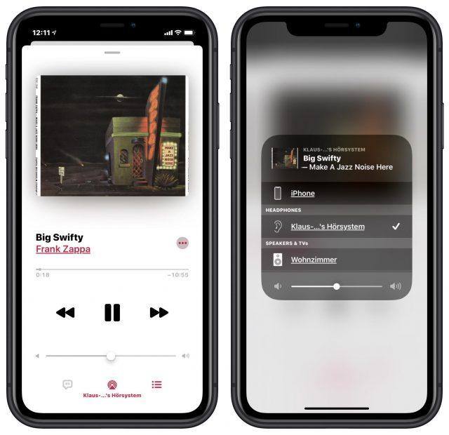 Het kiezen van een audio-uitvoerapparaat in de Muziek-app
