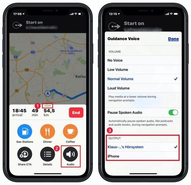 Een audio-uitvoerapparaat kiezen in Apple Kaarten
