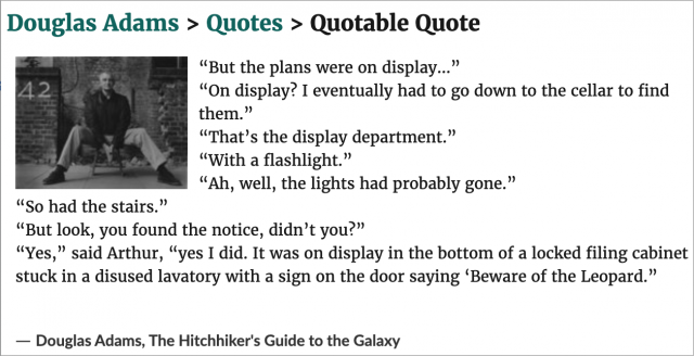 Quote from The Hitchhiker's Guide to the Galaxy