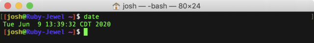 """Output of """"date"""" in the Terminal."""