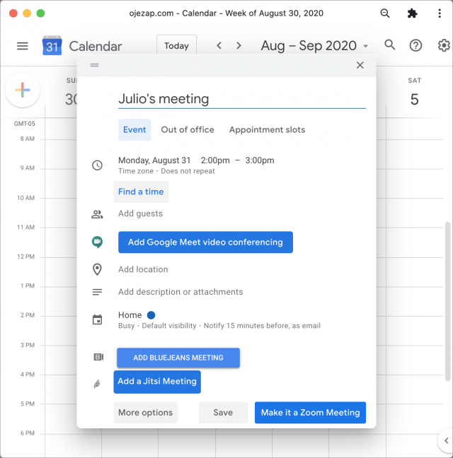 Adding a meeting in Google Calendar