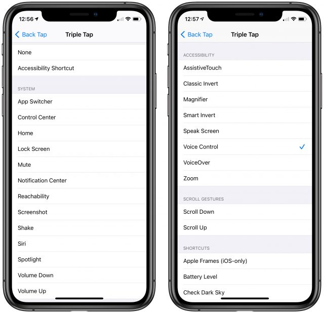Back Tap actions on the iPhone