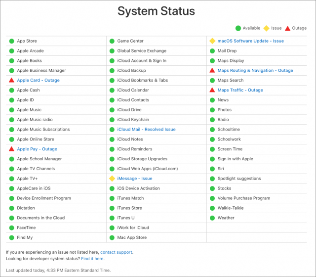 Apple System Status page during the debacle