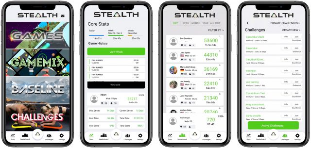 Stealth Fitness app main screens