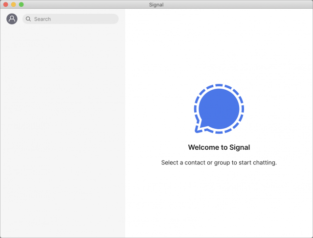 Signal Mac interface, with no imported messages