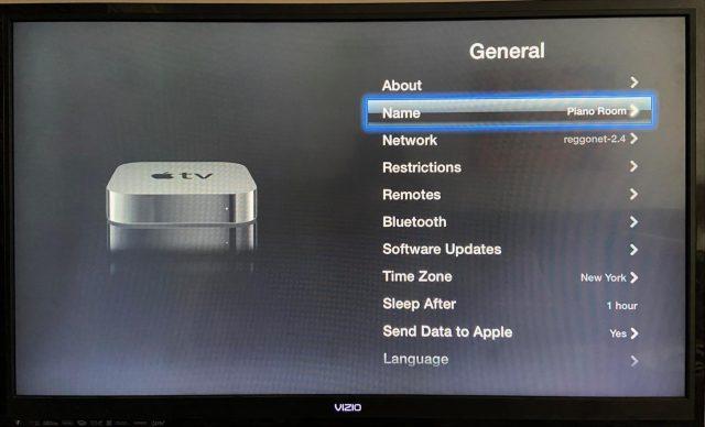 Old Apple TV settings