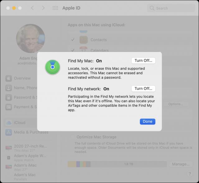 Find My Mac settings