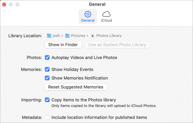 Photos location export setting