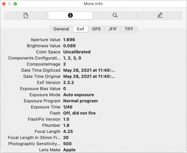 Preview EXIF data