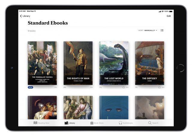 Standard Ebooks titles in Apple Books on iPad