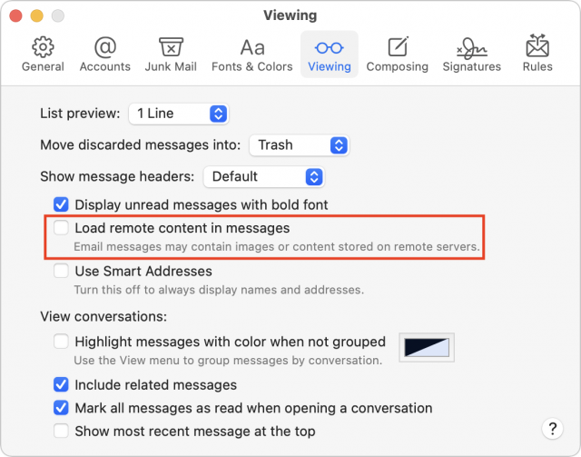 Load remote content in messages