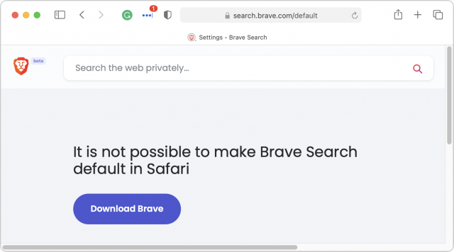 Brave Search can't work in Safari