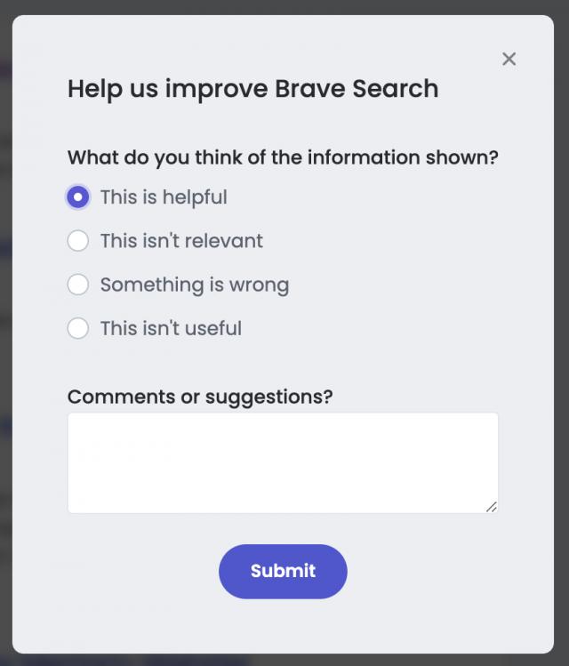 Brave Search feedback dialog