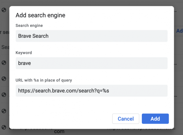Adding Brave Search to a Chromium browser