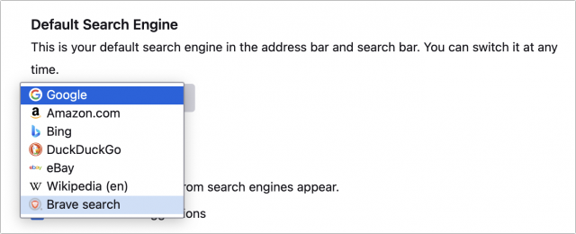 Setting Brave Search as the default in Firefox