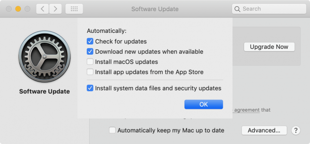 Software Update preference pane in Mojave, without drop shadow