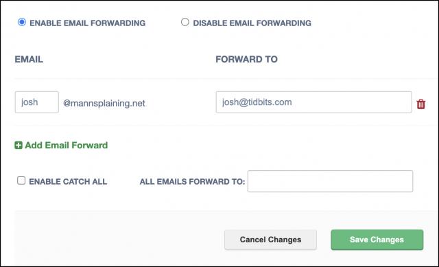 Setting up email forwarding on Epik