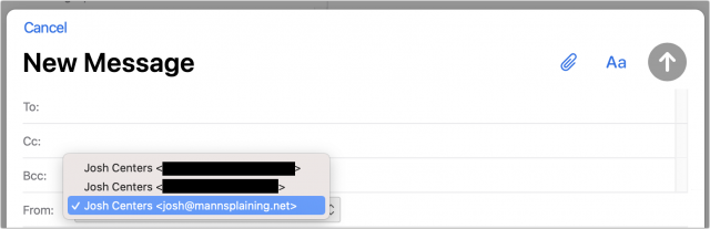 Choosing the From address in iCloud webmail