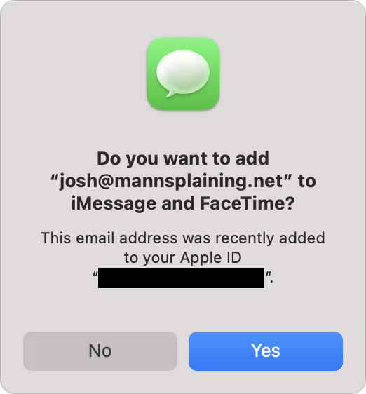Prompt to add the new address to iMessage and FaceTime