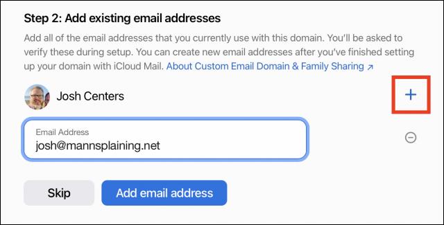 Enter custom email address