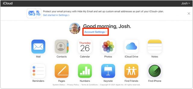 iCloud beta Account Settings