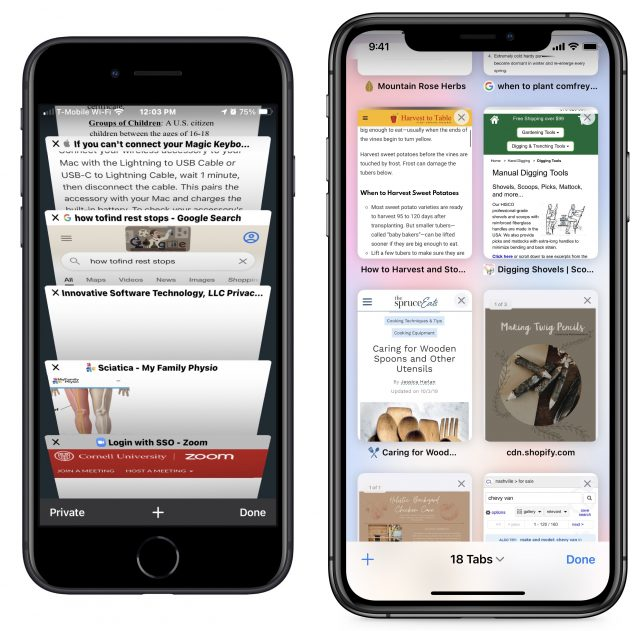 Old Safari tab stack vs the new tab grid
