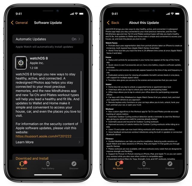 watchOS 8 update process