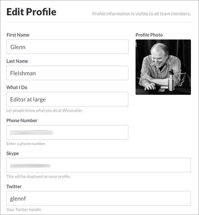 Figure 7: You can expand your profile with useful details, such as how to reach you outside of Slack.