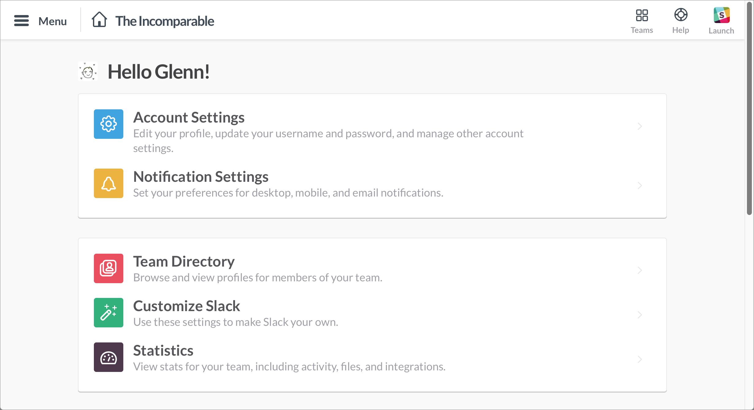 Figure 15: Slack's Home page in the Web app contains both items available in native apps (top) and only in the Web app (bottom).