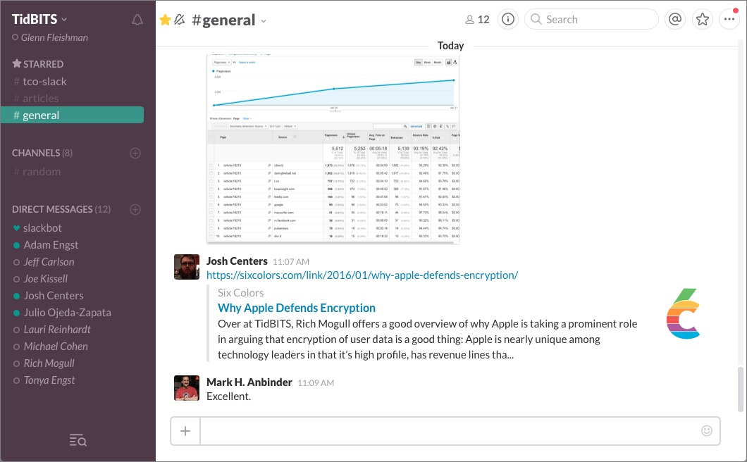 Figure 12: The Slack Web app, shown in Safari, has the same sidebar at left and messaging view at right, but lacks the Teams sidebar found in the native desktop Slack apps.