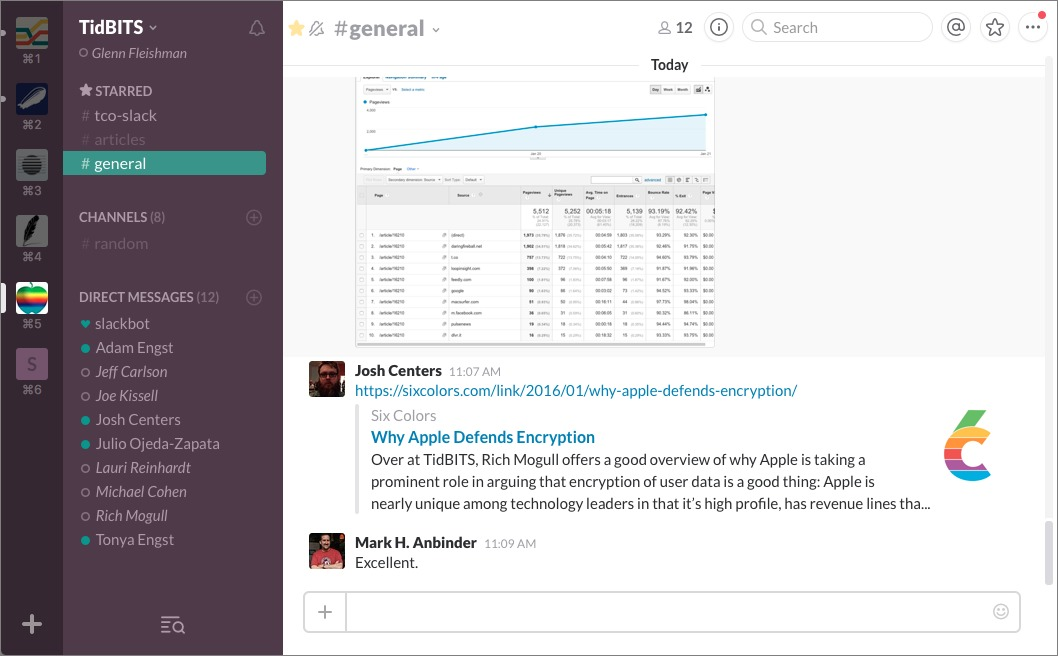 Figure 13: The native desktop Slack app offers a Teams sidebar at the far left that eases switching between teams.