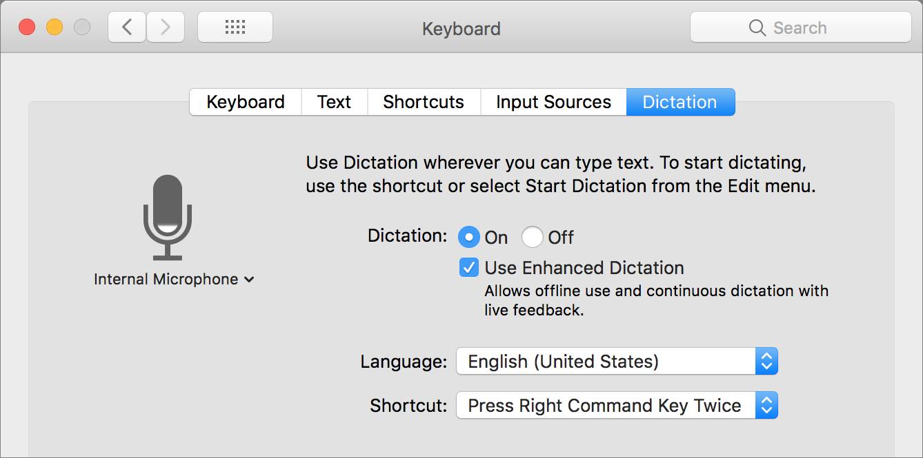 Dictation preference pane