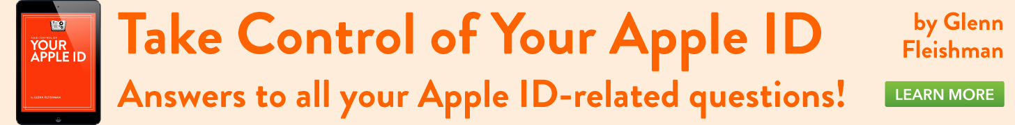 Take Control of Your Apple ID, by Glenn Fleishman
