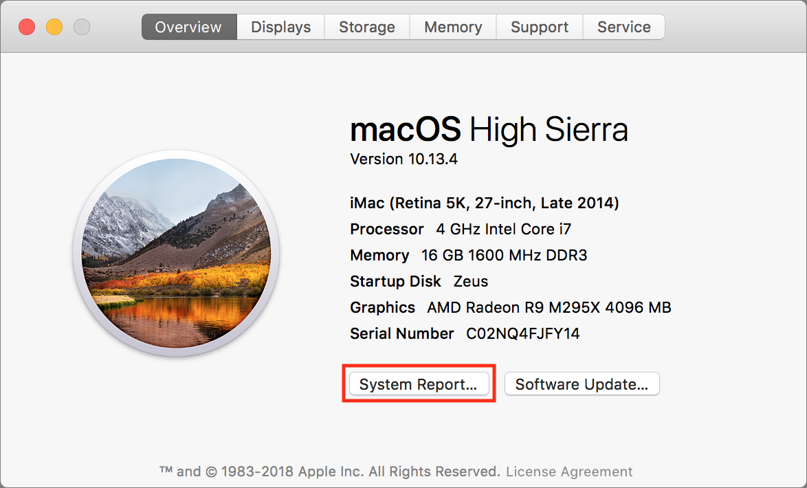About This Mac in High Sierra.