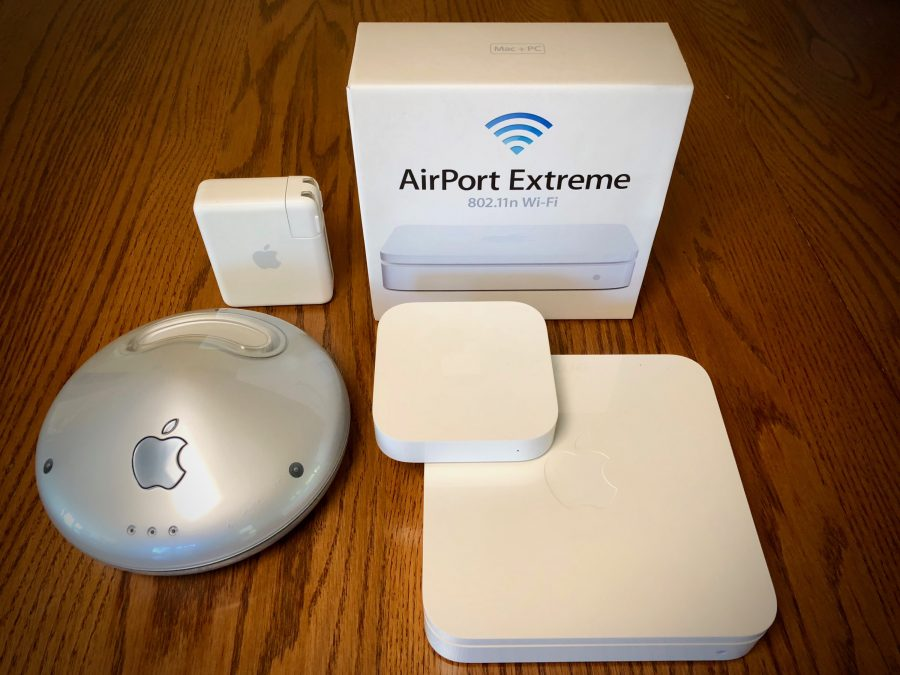 A collection of AirPort base stations