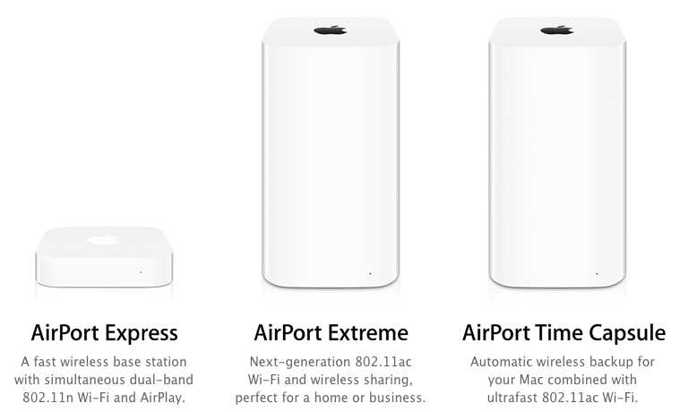The AirPort Express, AirPort Extreme, and AirPort Time Capsule.