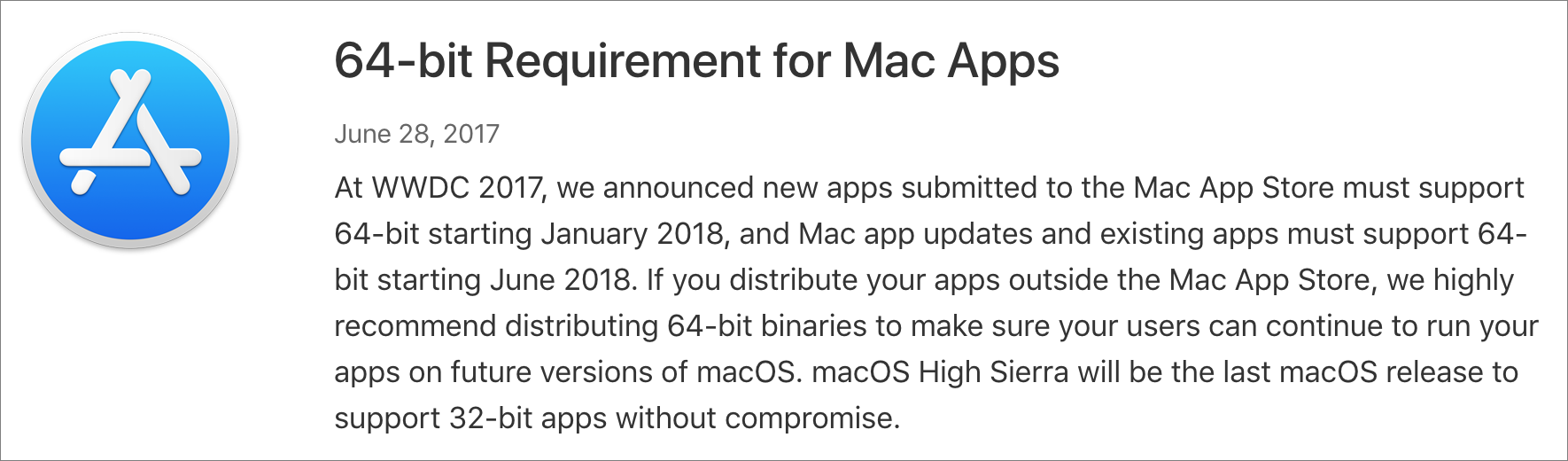 Apple's warning about apps requiring 64-bit support going forward.