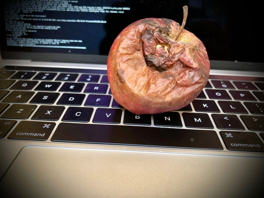 Rotten apple on MacBook Pro keyboard