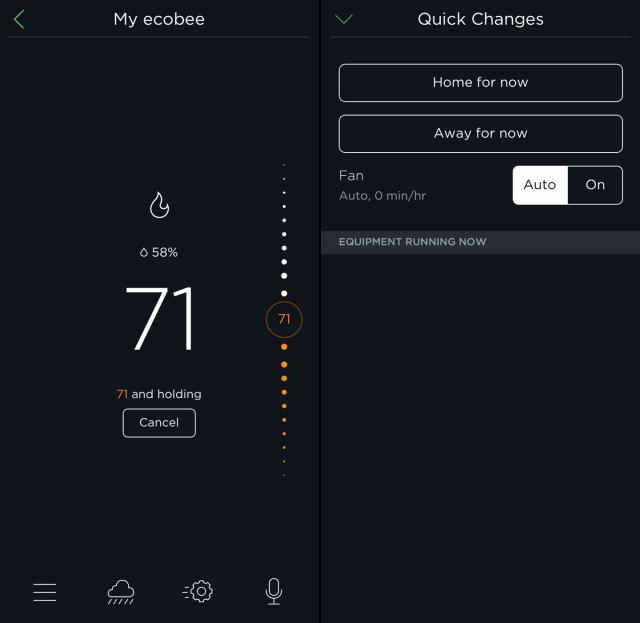 The main screens in Ecobee's iPhone app.