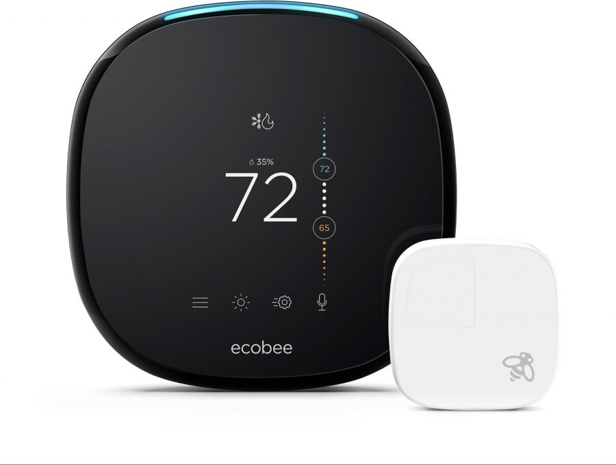 The Ecobee 4 thermostat with a room sensor.