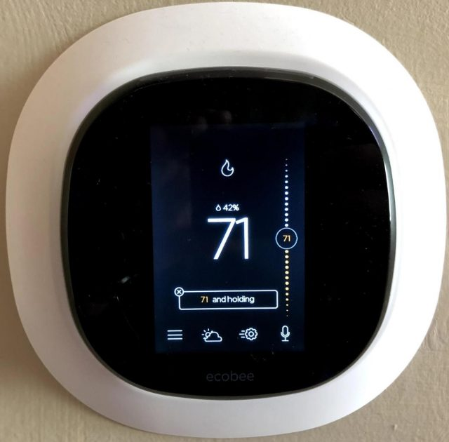 The Ecobee thermostat installed in the author's home.