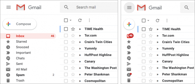 Gmail's collapsible left sidebar