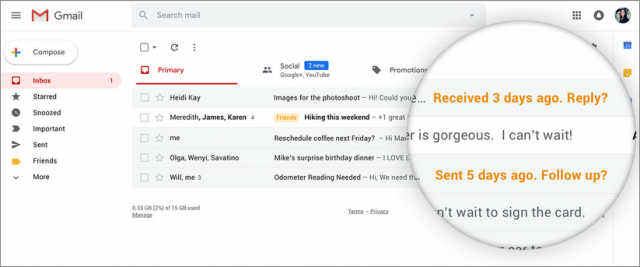 Gmail nags you to reply