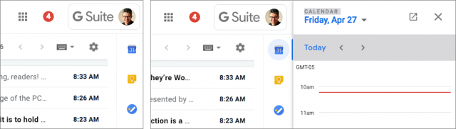 Google apps appear on the right side